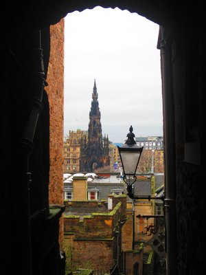 View of the Scott Monument from a Small Alley