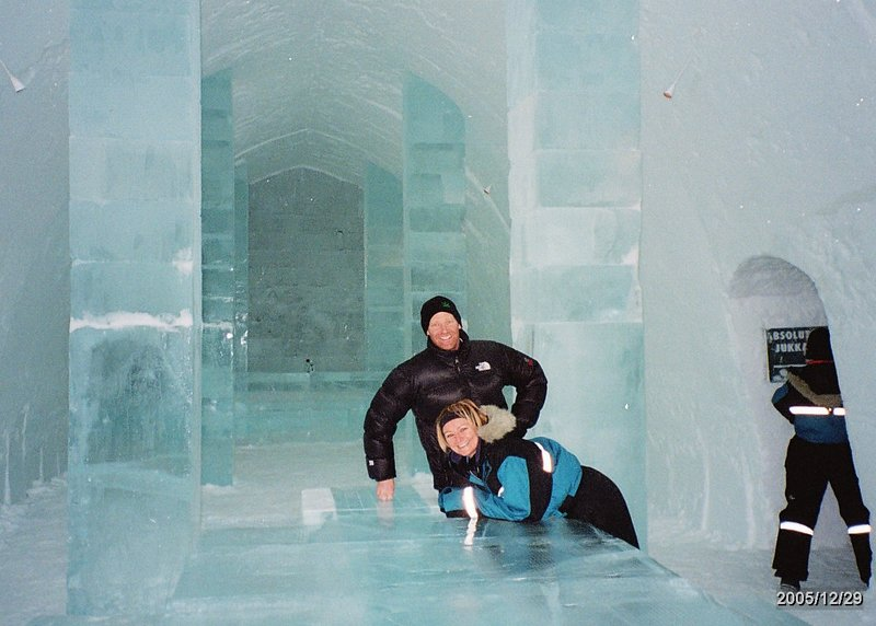 Me and Keirnan in the Ice Hotel