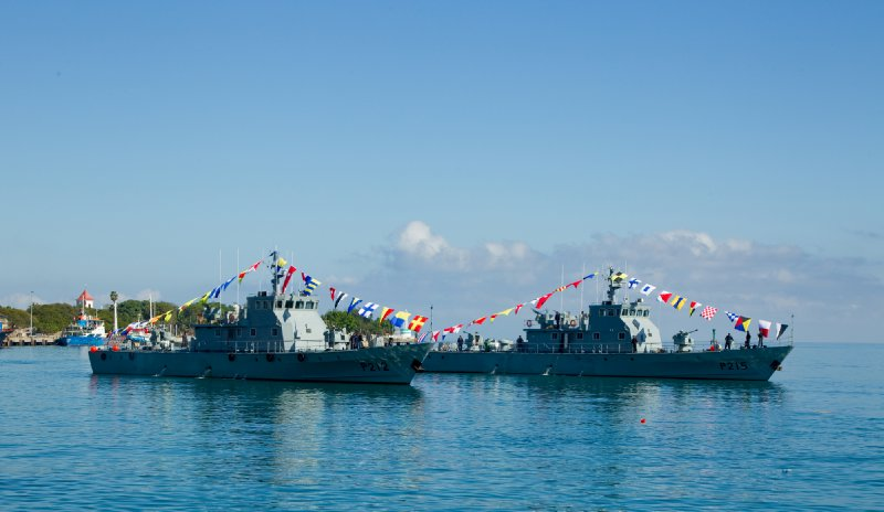 Timorian Navy frigates parade at Timor Leste National Army Day