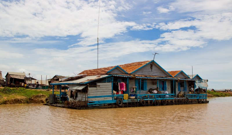 Floating house on tonle sap lake, cambodia