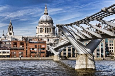 St Paul`s Cathedral and Millennium Bridge
