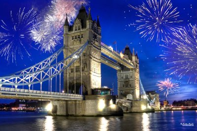 Tower Bridge and fire works