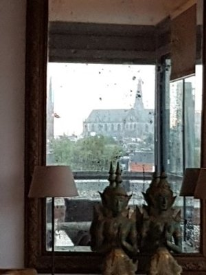 Haarlem - view of St Bavo from Marja's apartment - through the looking glass