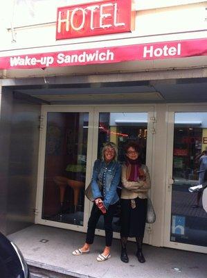 Antwerp - Jeni and Inez outside Wake Up Sandwich Hotel