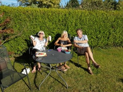 Cockfield - Jeni, Elaine and Paul at 2 The Birches