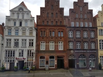 Lubeck - houses opposite our apartment at 64 Beckergrube