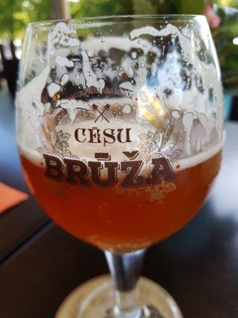 Riga - Cesu Bruza unfiltered beer at labais Keasts Cafe