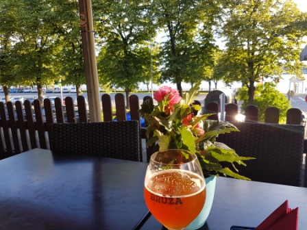 Riga - view of Daugava River from Labais Krasts Cafe