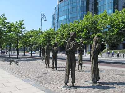 Famine memorial on the banks of the Liffey River in Dublin