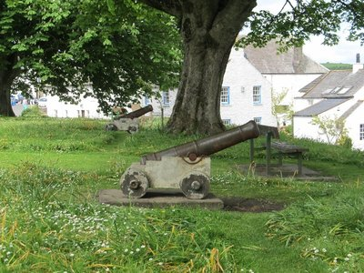 Cannons on the hill in the centre of Kirkcudbright, Scotland