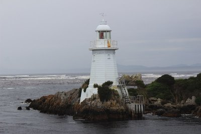 Lighthouse guarding Hell's Gate, Macquarie Harbour, Strahan, Tasmania