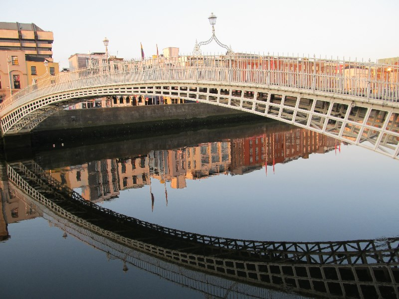 Morning shadows on the Liffey River in Dublin