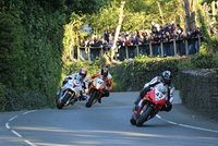 Motor bike racing on Isle of Man during the 2013 TT Races