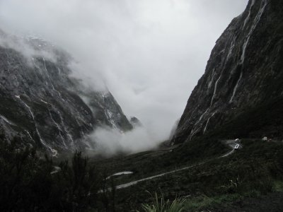 The road to milford sound on a bad day