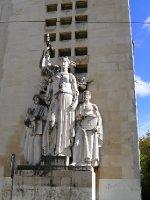 Neoclassical statues near university