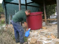 Decanting the wine for bottling