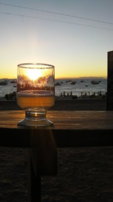 Sunset and pisco sours on the shore of Lake Titicaca