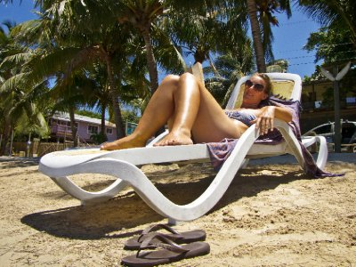 Roatan, Honduras - Lounging on the beach