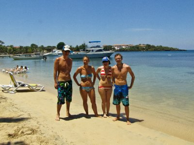 Roatan, Honduras - The four of us on the beach