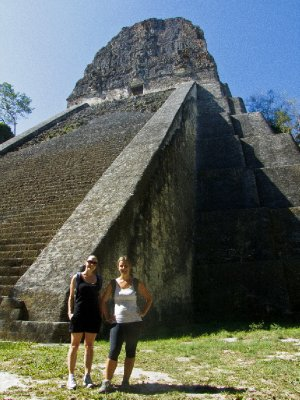 Tikal, Guatemala - Jess and Anna in front of Templo V