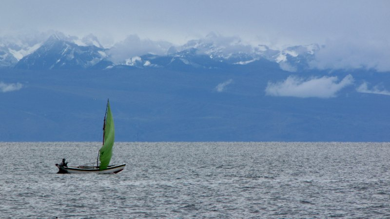 Sailing boat on Lake Titicaca