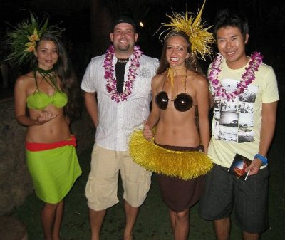 The boys posing with the Hula girls