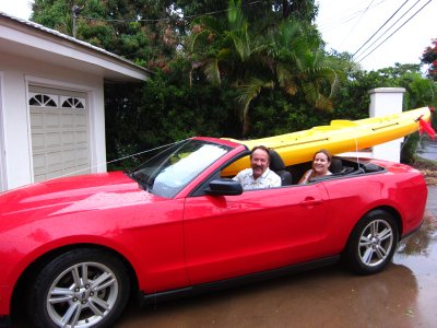 Bringing the kayak home from costco! It also happened to rain that day....