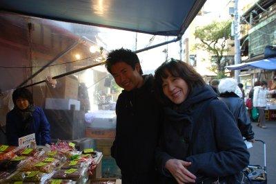 Jesse and Emi at the Tsukijii Fish Market