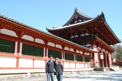 Jesse and his mom ready to go into the Tōdai-ji temple
