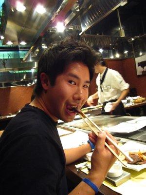 Jesse loving Kobe Beef!