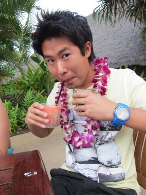 Jesse enjoying the luau