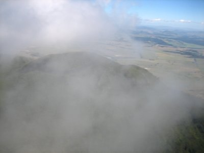 Flying through a cloud over Mt Tauharas