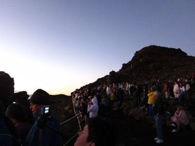 Crowds waiting for the sunrise