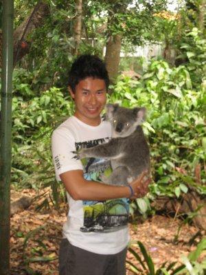 Jesse cuddling a koala
