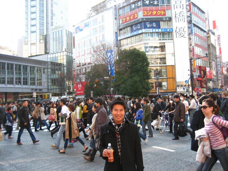 Jesse in busy Shibuya