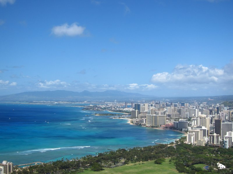 View of Waikiki Beach and downtown Honolulu