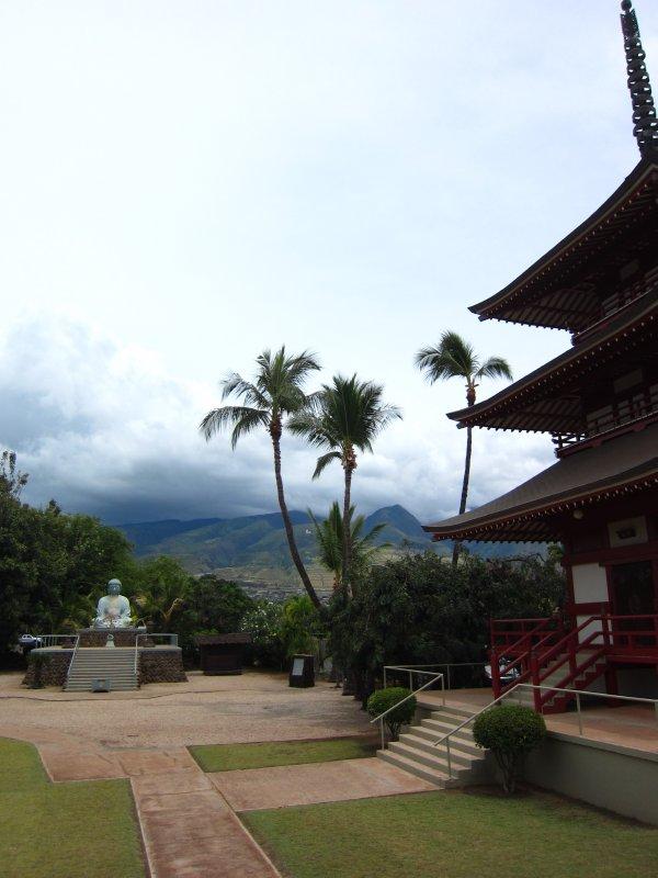 Japanese Pagoda and Buddha