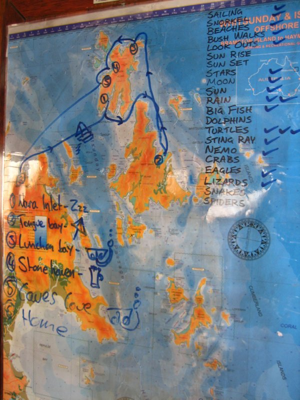 Map of our travels through the Whitsundays