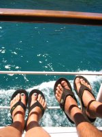Jandals on the boat cruise