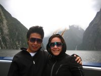 Jesse and Jacq on the boat in Milford Sound