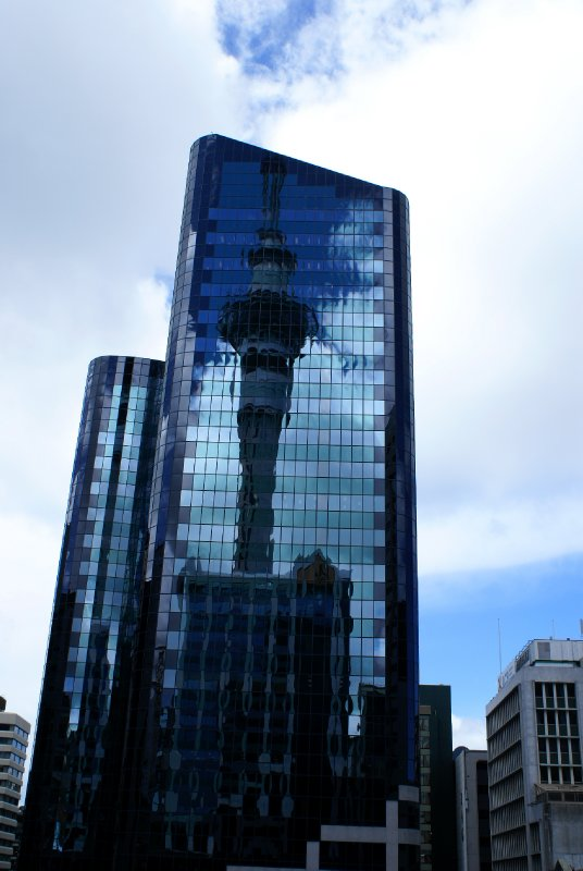 Auckland tower reflections in the nearby building windows
