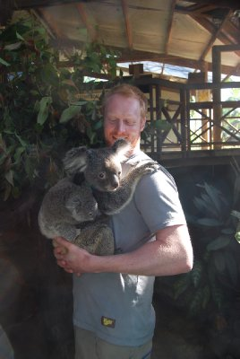 Øyvinds første møte med en koala :-) ingen dårlig start ;-)