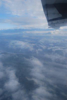 Utsikt over Himalaya fra flyet
