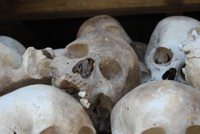 Ekte hodeskaller fra mennesker som ble ofre for Røde Khmer