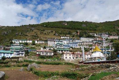 Namche Bazaar - det nærmeste vi kom sivilisasjonen i Himalaya!