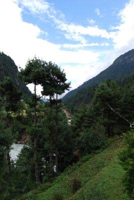 Utsikt fra rommet vårt i Phakding :-)