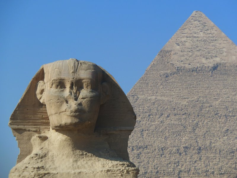 The sphinx frontlines the great pyramids of Giza
