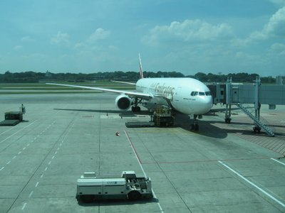 Emirates plane at Singapore Airport
