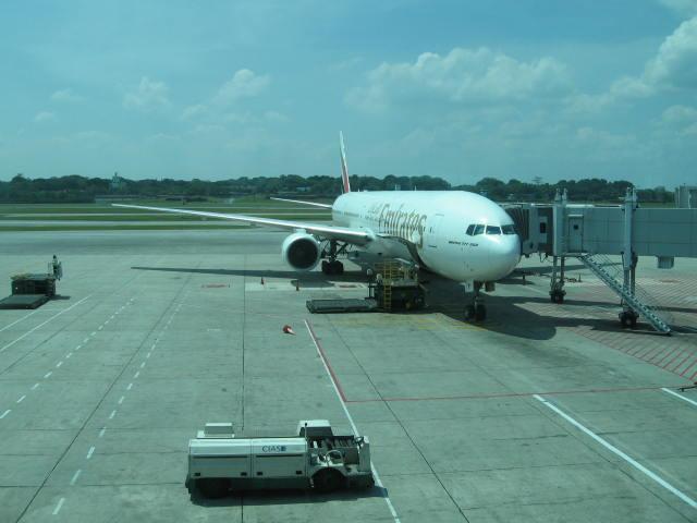 Emirates plane at Singapore Airport