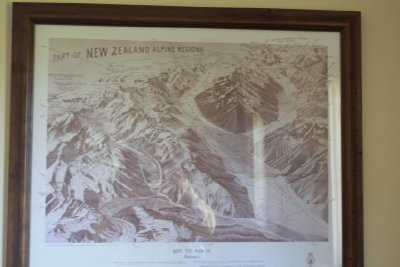 The Map at Charlie Hobb's Cafe at Mount Cook.  Had the priviledge of saying hello to Charlie personally.